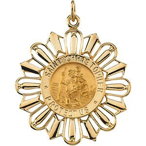 14k Yellow Gold St. Christopher Medal (30x26 MM)