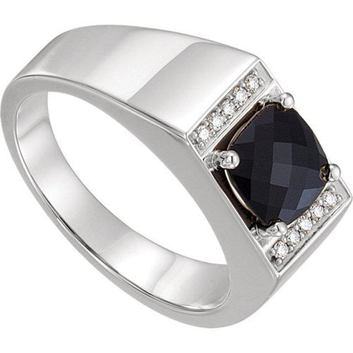 Men's Antique Square Checkerboard Onyx and Diamond Ring, Sterling Silver (.10 Ctw, G-H Color, I1 Clarity) Size 11.75