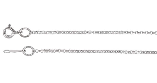 1.5mm Rhodium-Plated 14k White Gold Rolo Chain, 30""