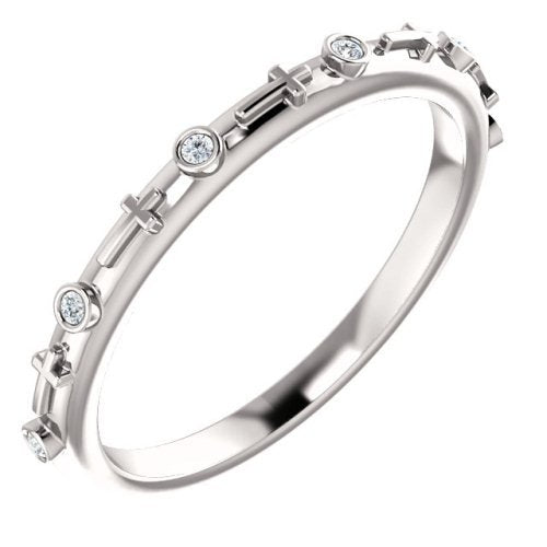 Rhodium-Plated 14k White Gold 2mm Diamond Cross Ring (.03 CTW, Color G-H, Clarity I1)