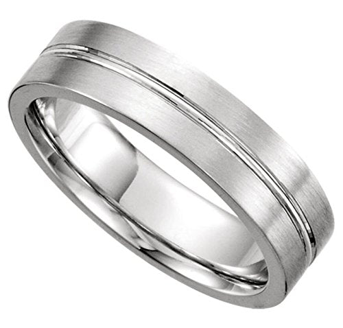 Satin Finish Grooved 6mm Comfort Fit 14k White Gold,Size 14.5