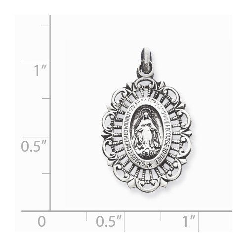 Sterling Silver Antiqued Miraculous Medal(27X15MM)