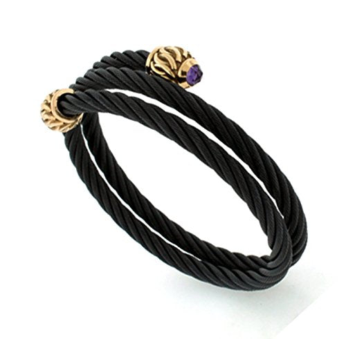 Throne Collection Black Titanium 24mm Cable Link and Bronze Caps Amethyst Bracelet, 6""