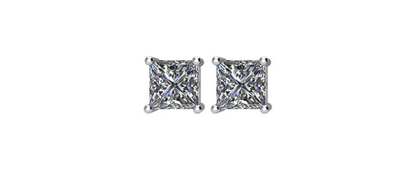 1/2 Ct 14k White Gold Princess Cut Diamond Stud Earrings (.52 Cttw, GH Color, SI2-SI3 Clarity)