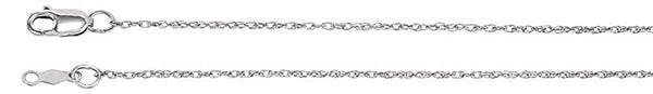 1mm 14k White Gold Rope Chain, 24""