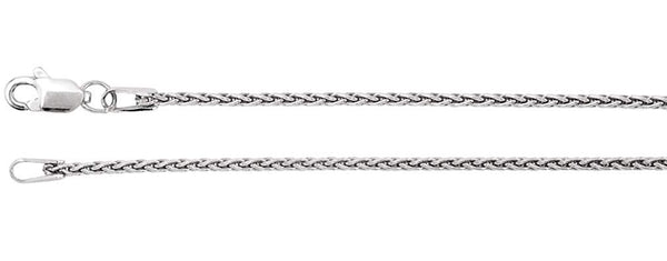 1.25mm Sterling Silver Wheat Chain Bracelet, 7""