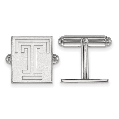 Rhodium-Plated Sterling Silver Temple University Cuff Links, 16X13MM