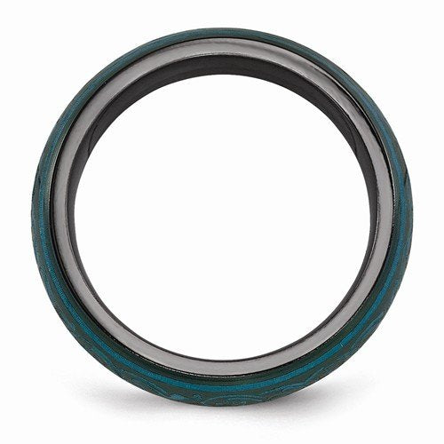 Rain Collection Black Ti Anodized Teal 6MM Domed Band