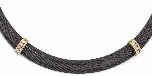 Edward Mirell Titanium and Bronze White Sapphire Cable Necklace, 16""