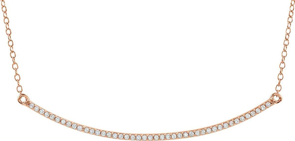 "Diamond Bar Necklace in 14k Rose Gold, 16-18"" (1/6 Cttw)"