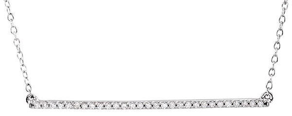 "Diamond Bar Necklace in 14k White Gold, 18"" (1/6 Cttw)"