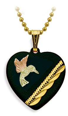 Humming Bird Black Enamel Heart Pendant Necklace, 10k Yellow Gold, 12k Green and Rose Gold Black Hills Gold Motif, 18""