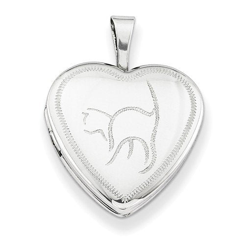 Sterling Silver Diamond-Cut Cat Heart Locket Necklace, 18""