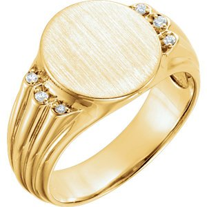 Men's 14k Yellow Gold Diamond Round Signet Ring (.07 Ctw, G-H Color, I1 Clarity)