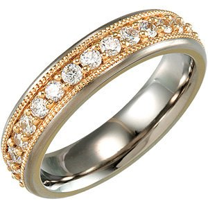 7mm Comfort Fit Titanium and 14k Yellow Gold Cubic Zirconia Eternity Band, Sizes 6 to 10