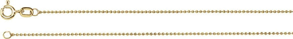 1mm 14k Yellow Gold Solid Bead Chain, 7""