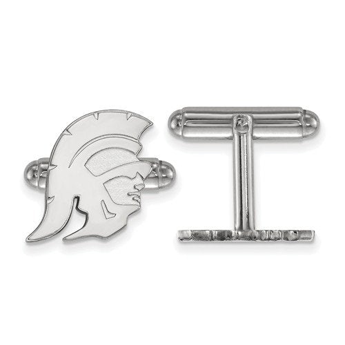 Rhodium-Plated Sterling Silver University Of Southern California Cuff Links, 16MM
