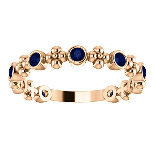 Chatham Created Blue Sapphire Beaded Ring, 14k Rose Gold, Size 7
