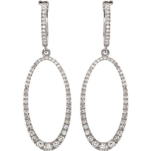Diamond Oval Silhouette Earrings, 14k White Gold (1 1/4 Ctw, Color H-I, Clarity I1)