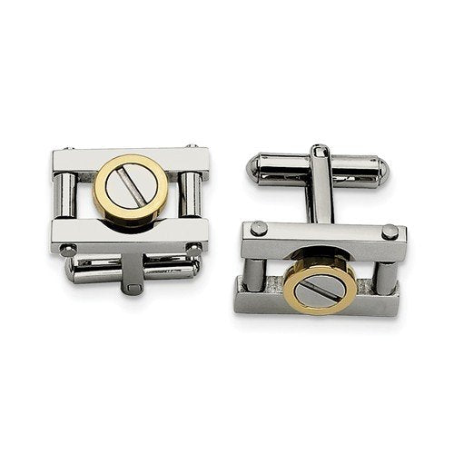 Yellow IP-Plated Stainless Steel Rectangle Cuff Links, 11X19MM