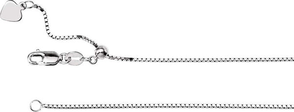 1mm 14k White Gold Adjustable Box Chain, 22""