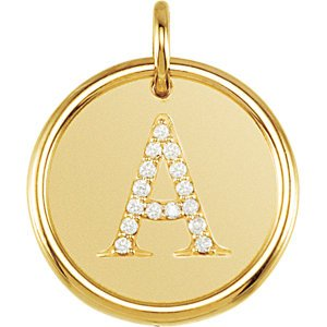"Diamond Initial ""A"" Pendant, 14k Yellow Gold (.07 Ctw, Color G-H, Clarity I1 )"