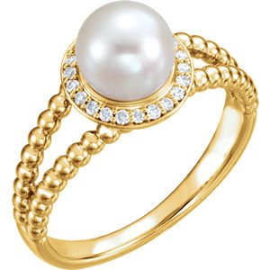 White Freshwater Cultured Pearl Diamond Halo 14k Yellow Gold Ring (7-7.5 MM) (Color G-H, Clarity I1)