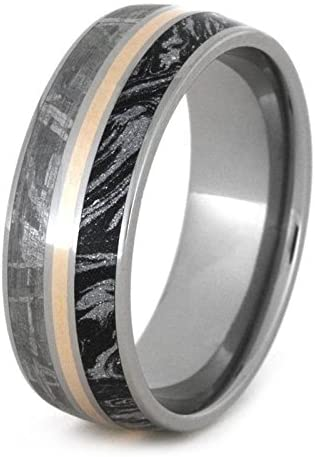 The Men's Jewelry Store (Unisex Jewelry) Gibeon Meteorite, Black and White Mokume Gane, 14k Yellow Gold 8mm Titanium Comfort-Fit Ring, Size 5