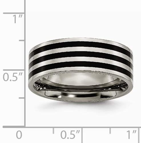 Grey Titanium, Black IP 8mm Wedding Band, Size 9.5