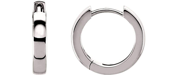 14k White Gold Hoop Earrings (14mm)