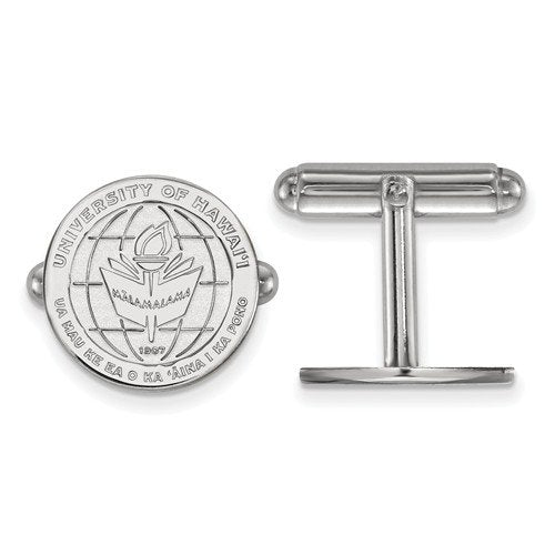 Rhodium-Plated Sterling Silver, The University of Hawai'i, Crest Cuff Links, 15MM