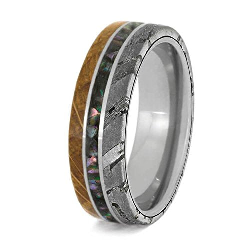 Whiskey Barrel Oak Wood, Seymchan Meteorite, Crushed Abalone 6.5mm Comfort-Fit Titanium Band, Size 12