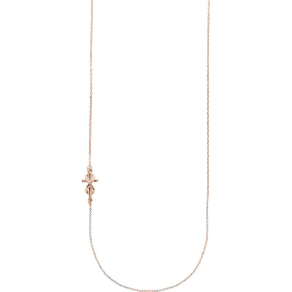 "Infinity Sideways Cross 14k Rose Gold Necklace, 16"" and 18"""