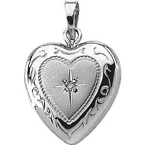 Sterling Silver Diamond Heart Locket (GI Color, I3 Clarity)