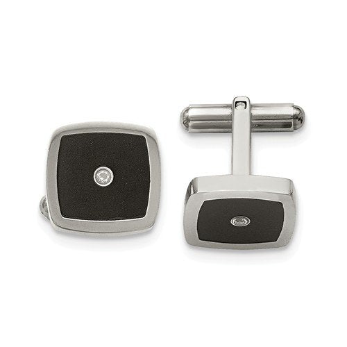 Stainless Steel Polished Enameled Cubic Zirconia Square Cuff Links