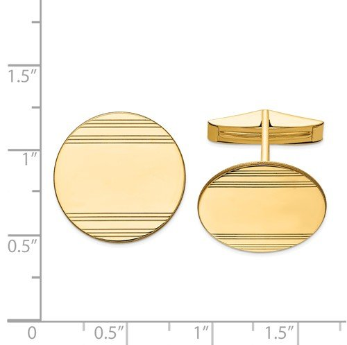 14k Yellow Gold Line Texture Round Cuff Links, 20MM