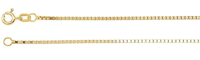 1.3mm 14k Yellow Gold Solid Box Chain Bracelet, 7""