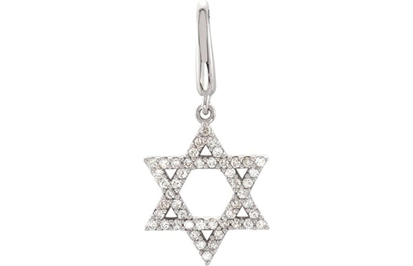 Diamond Star of David Rhodium-Plated 14k White Gold Charm Pendant (1/5 Cttw, GH Color, I1 Clarity)