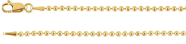 2mm 14k Yellow Gold Bead Chain, 20""