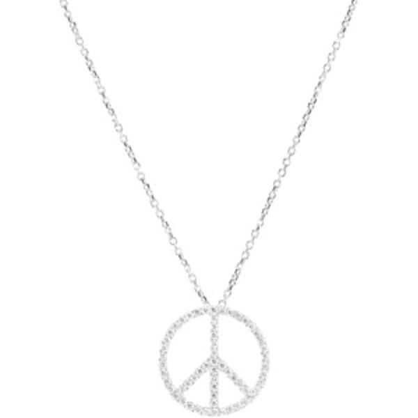 Petite Diamond Peace Sign Platinum Necklace, 16