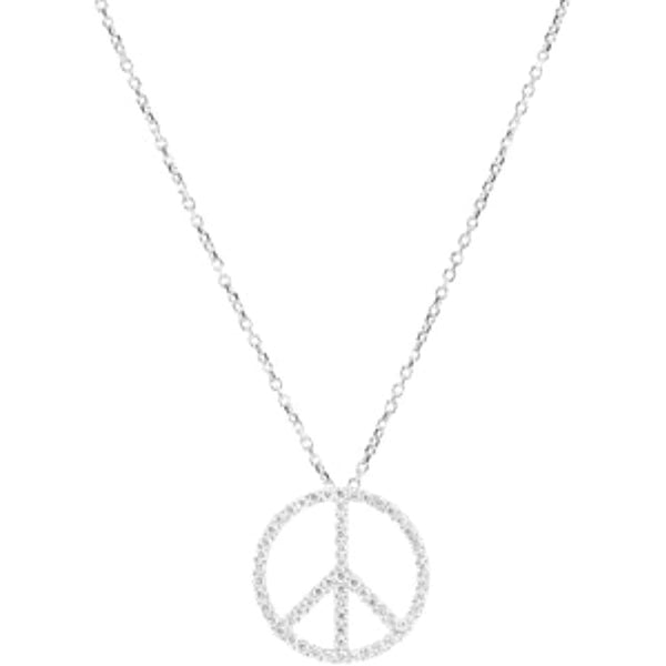 "Petite Diamond Peace Sign 14k White Gold Necklace, 16"" (.33 Cttw, GH, I1)"