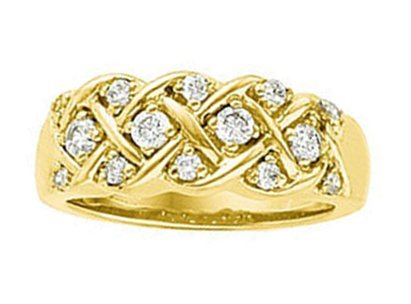 Fourteen Stone Diamond Lattice Work 14k Yellow Gold Band, Size 6 (.40 Cttw, GH Color, SI2-SI3 Clarity)