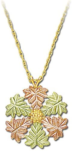 Snowflake Pendant Necklace, 10k Yellow Gold, 12k Green and Rose Gold Black Hills Gold Motif, 18""