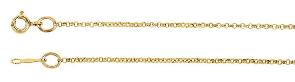 1.5mm 14k Yellow Gold Rolo Chain, 30""