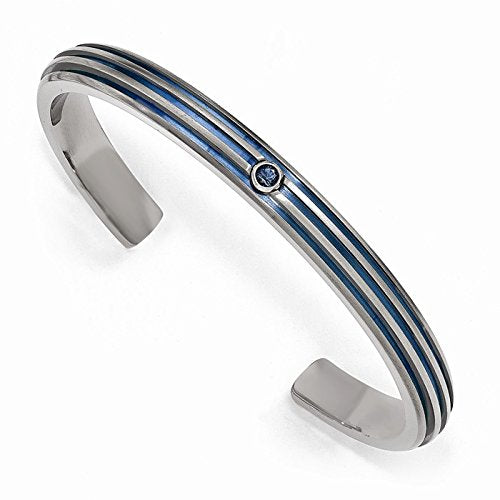 Radiance Collection Gray Titanium Groove Triple Blue Anodized Blue Sapphire Cuff Bangle Bracelet