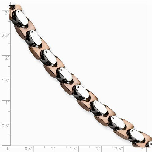 Men's Polished Stainless Steel 8mm Brown IP-Plated Bracelet, 9 ""