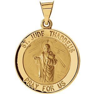 14k Yellow Gold Hollow Round St. Jude Medal (18.25MM)