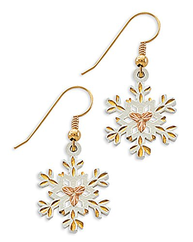 White Powder Coat Snow Flake Earrings, Sterling Silver, 12k Rose Gold Black Hills Gold Motif