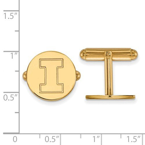 Gold-Plated Sterling Silver, University Of Illinois Cuff Links, 15MM