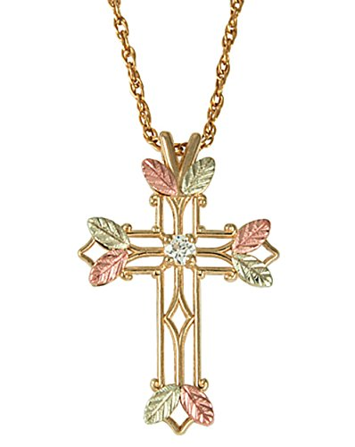 Zircon April Birthstone Cross Pendant Necklace, 10k Yellow Gold, 12k Green and Rose Gold Black Hills Gold Motif, 18""